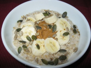 Banana topped oats