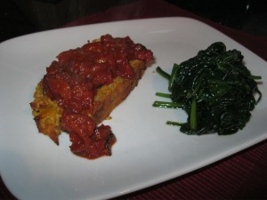 Lentil roast with tomato basil sauce