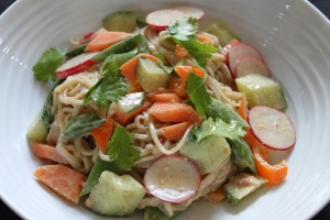 Noodle salad with satay