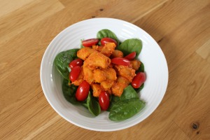 gnocchi with red pepper sauce